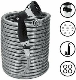 Morvat 100 Foot Stainless Steel Garden Hose Set | Heavy Duty