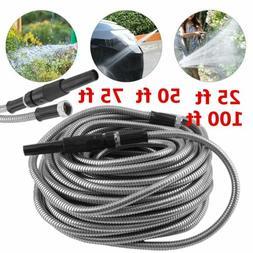 25-100 Ft Stainless Steel Metal Garden Water Hose Lightweigh