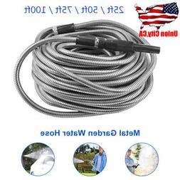 25/50/75/100ft Stainless Steel Flexible Metal Garden Water H