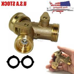 """3/4"""" Heavy Duty Garden Water Hose All Brass Manifold 2 Way S"""