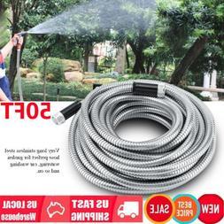 3/4in Stainless Steel Metal Garden Water Hose Pipe 15M/50FT