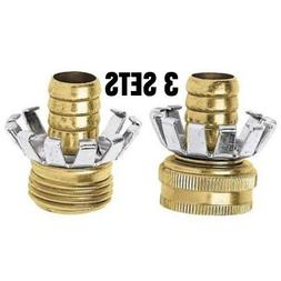 "1/2"" BRASS GARDEN HOSE MALE FEMALE END REPAIR COUPLER CLINC"