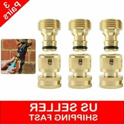 3 Sets Garden Hose Quick Connector 3/4- Inch GHT Brass Easy