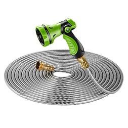 Strong 304 Stainless Steel Metal Garden Hose with Nozzle 50f