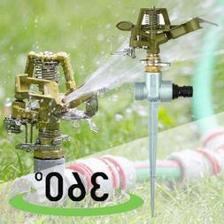 360 Degree Rotating Pulse Water Sprinkler Garden Metal Grass