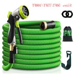 50/75/100FT Deluxe Expandable Garden Hose Heavy Duty Flexibl