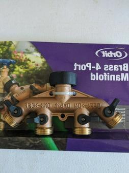 Orbit 4-Port Brass Garden Hose Faucet Manifold w/ Ball Valve