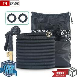 """50FT 75FT Heavy Duty Expandable Garden Water Hose 3/4"""" Solid"""