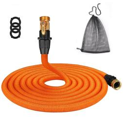 TACKLIFE 50ft Expandable Garden Hose with Double Latex Core,