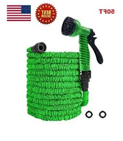 50FT Green Expanding Flexible Garden Water Hose with Spray N