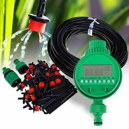 Auto 25m DIY Micro Drip Irrigation System Timer Self Plant W