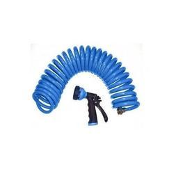 Blue Coil Garden Hose Orbit Nozzle Pistol Spray 25' Outdoor