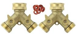 Brass Y 2 Way Garden Hose Connector 2 PACK 2 Brass 2-Way Spl