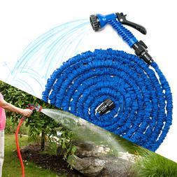 Deluxe 50 75 100 Ft Expandable Flexible Garden Water Hose Bl
