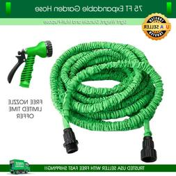 Garden Hose 75 feet Expandable Green Lightweight Heavy Duty