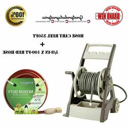 Garden Hose Cart Reel 250ft with 5/8-in x 100-ft Medium-Duty