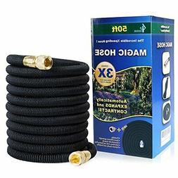 GLOUE Garden Hose Expandable 100ft Magic Water Hose Solid Br