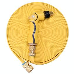 50ft Garden Hose with Spray Nozzle, Solid Brass Fittings - 3
