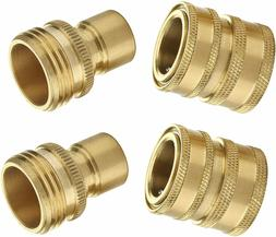 Garden Hose Quick Connect Fittings, 3/4 Inch GHT Solid Brass