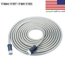 Garden Hose Water Pipe 25/50/75/100FT Stainless Steel Flexib