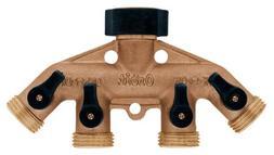 2 Pack - Orbit 4-Port Brass Hose Faucet Manifold w/ Shut off