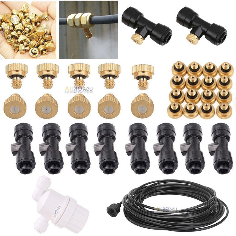 "1/4"" Slip-Lok Tees Water Hose 10/24 UNC Brass Misting Nozzle"