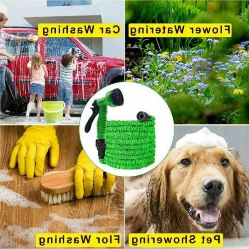 100 100FT Expandable Flexible Garden Hose with Spray Green