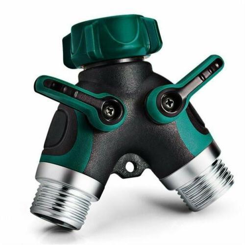 2 Way Y Hose Connector,Garden Faucet Splitter Metal Body Com