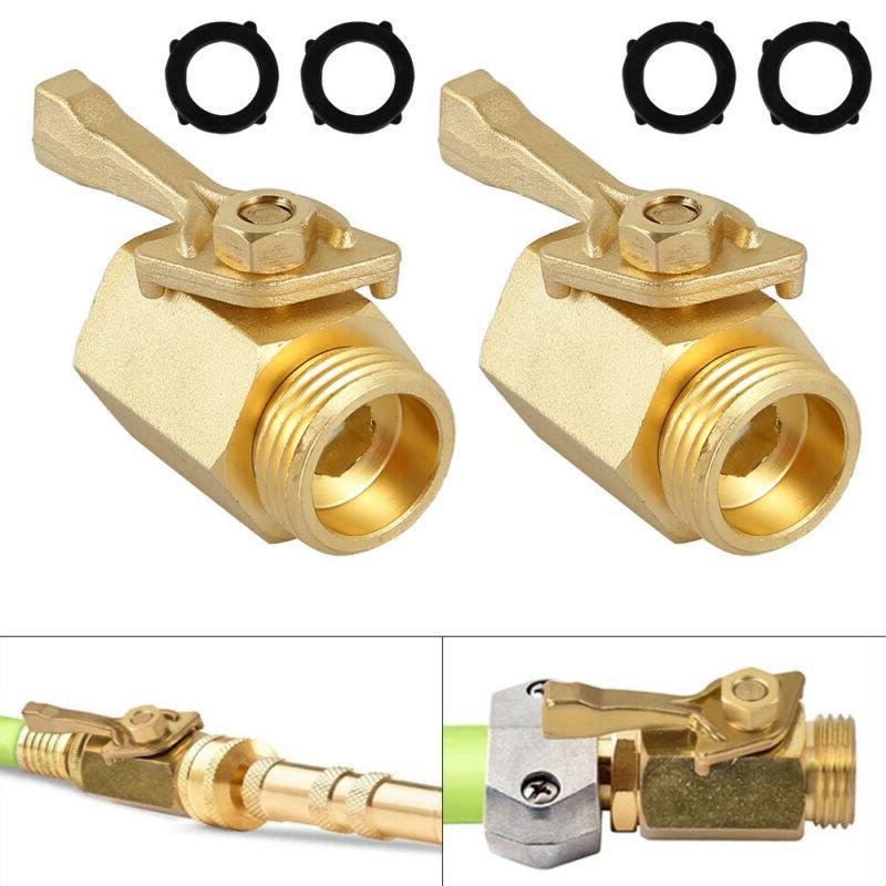 2Pc Garden Hose 1 Way Shut 3/4 In Faucet Connector Tool