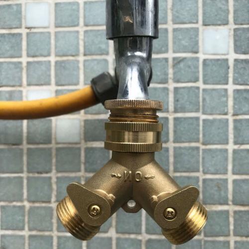 """3/4"""" Heavy Water Hose All Brass Manifold 2 Way Y Splitter"""