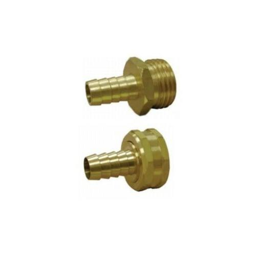 "3/8"" Hose Barb to 3/4"" Garden Hose Adapter Set - Brass Nippl"