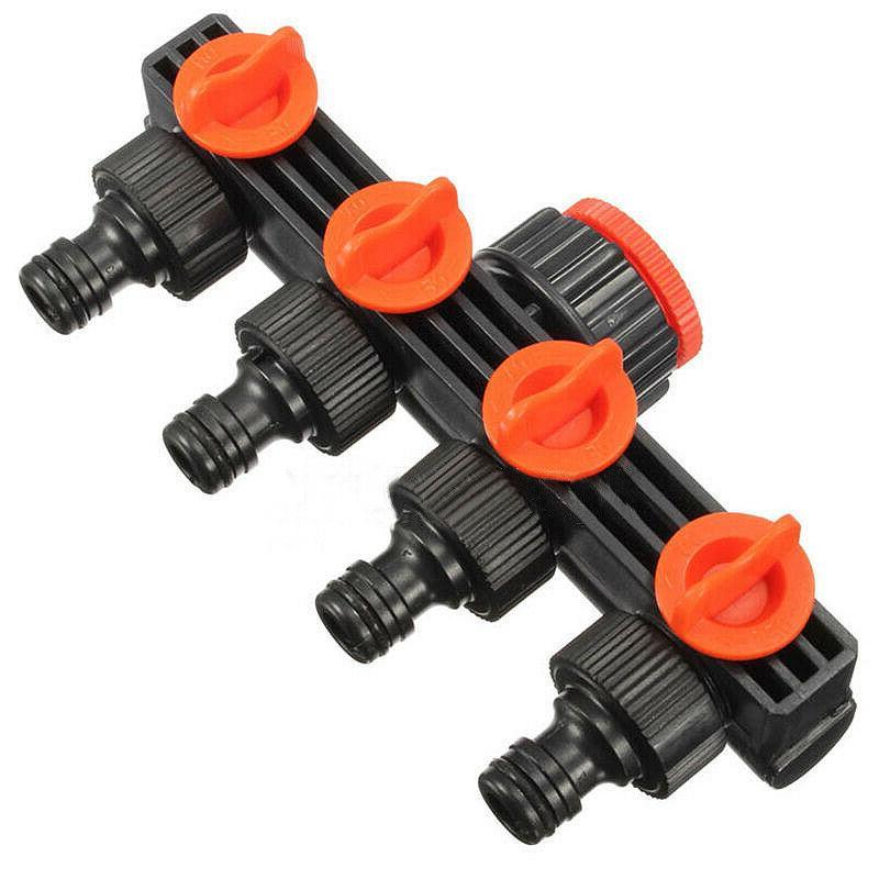 4 Way Garden Watering Hose Valve Splitter Pipe Faucet Irriga
