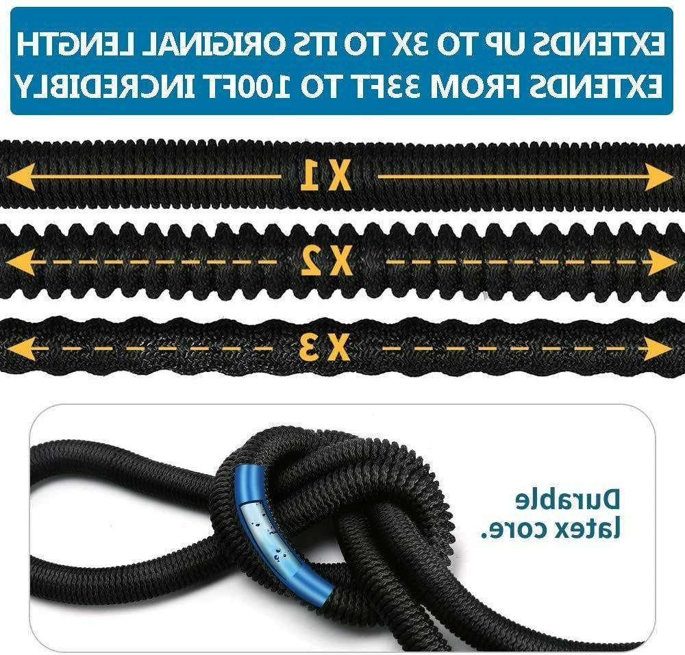 4X Stronger Heavy Duty Expandable Garden Hose Flexible 4-Layers Latex Core 100ft