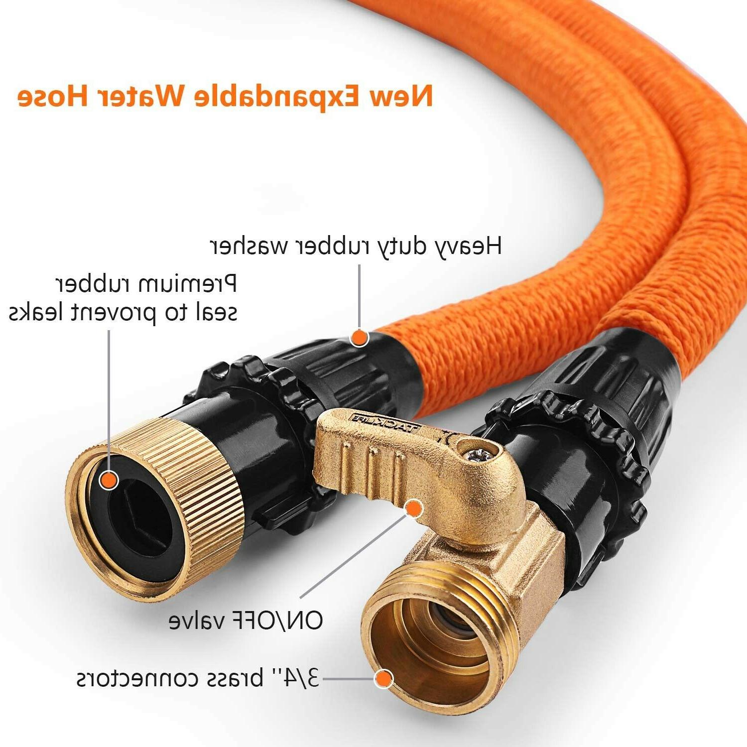 TACKLIFE Expandable Garden Hose with Double Latex Core,