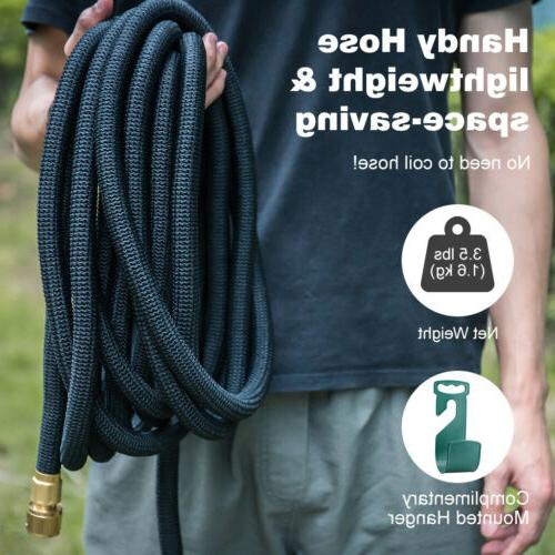 50Ft Flexible Water Hose Watering Brass+8Way Nozzle