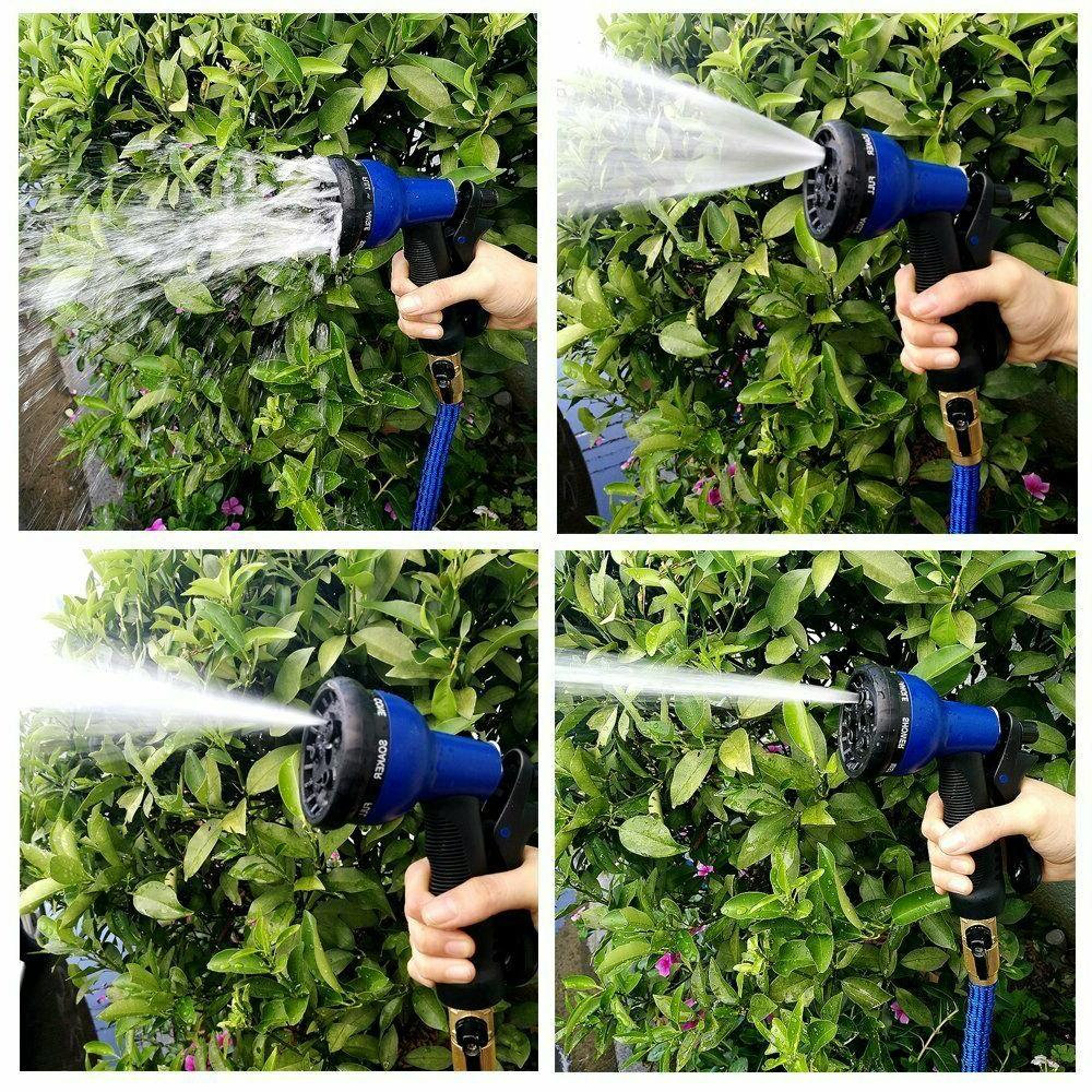 Deluxe 25 100 FT Expandable 8 Pattern Water Hose Spray Nozzle