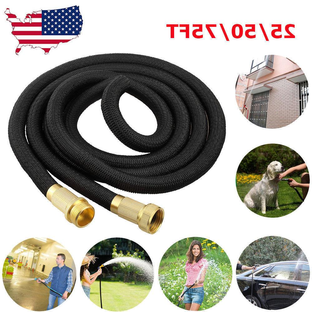 Deluxe 25 50 75FT Expandable Flexible Garden Water Hose Pipe