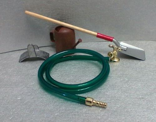 Dollhouse Miniature garden hose with faucet, watering can &
