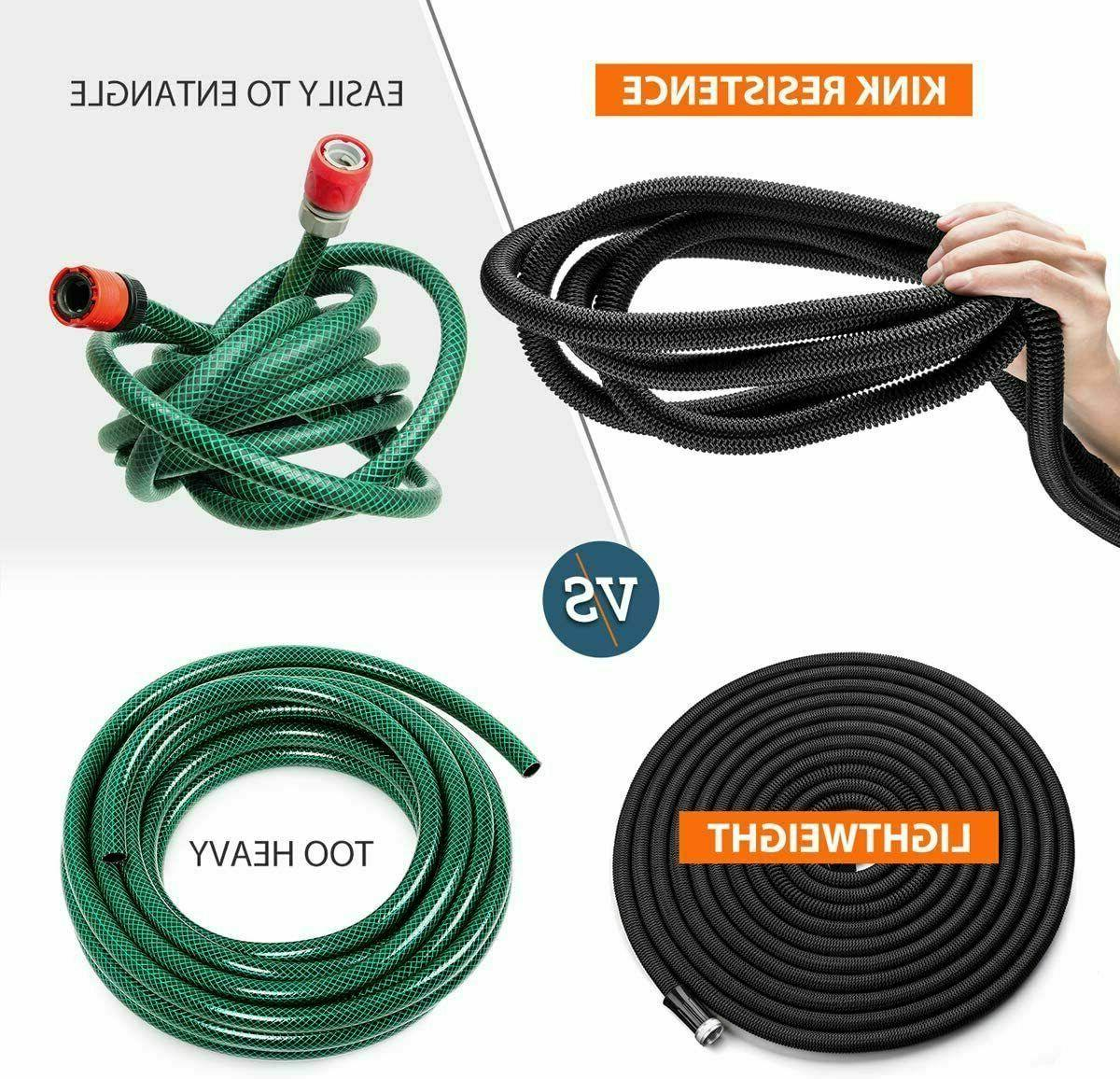 HooSeen Expandable 50ft Flexible Kink-Free Water Hose with Double L