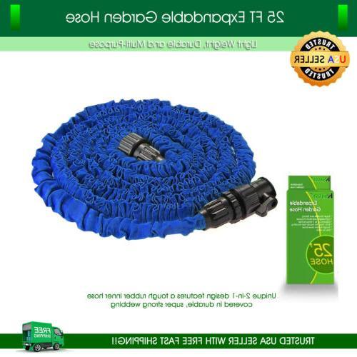 garden hose 25 feet expandable blue lightweight