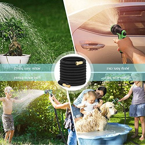 growfast Garden Hose, Feet Lightweight Durable Hose 3/4 Nozzle Solid Connector Flexible for Use