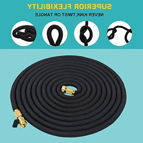 growfast Hose, Feet Expandable Lightweight and Durable Hose 3/4 Nozzle Solid Connector for Heavy Use Watering, Washing