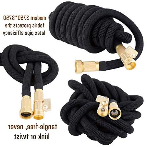 """50ft Garden ALL Water Hose with Core, 3/4"""" Fittings, Extra - Flexible with Spray Nozzle"""