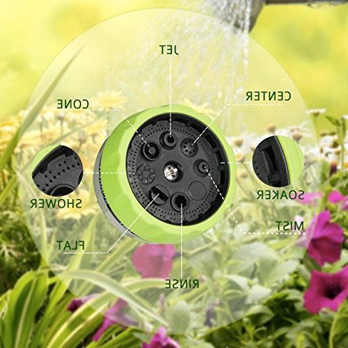 VicTsing Garden Spray Nozzle, Nozzle Heavy Duty 8 Adjustable Slip Shock for Cleaning, Car Wash Pets