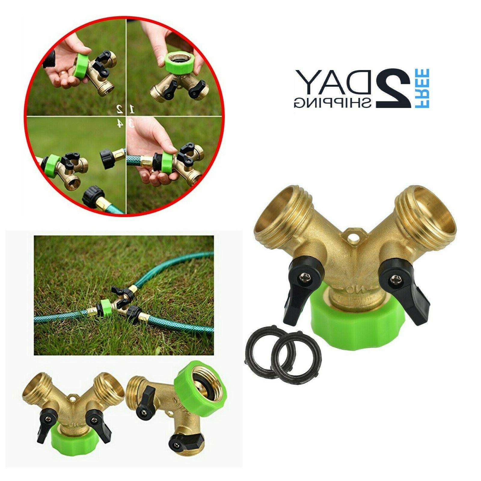 garden hose y splitter 2 way brass