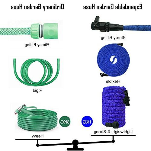 "Garden 25ft Lightweight Hose 3/4"" Solid Fittings, Extra Flexible Expanding Hose Lawn Car"