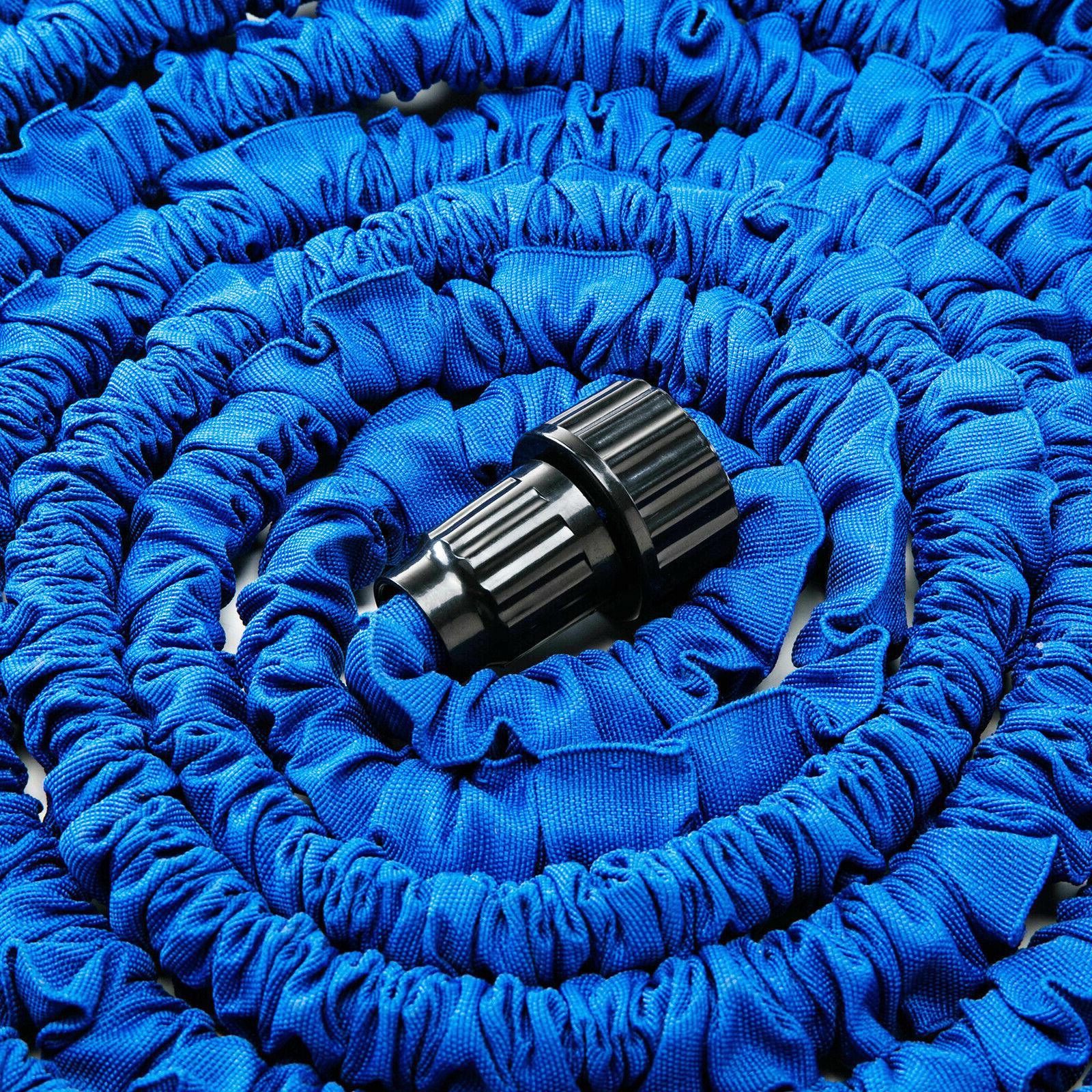 Deluxe 50 Flexible Garden Hose w/ Spray Nozzle Blue