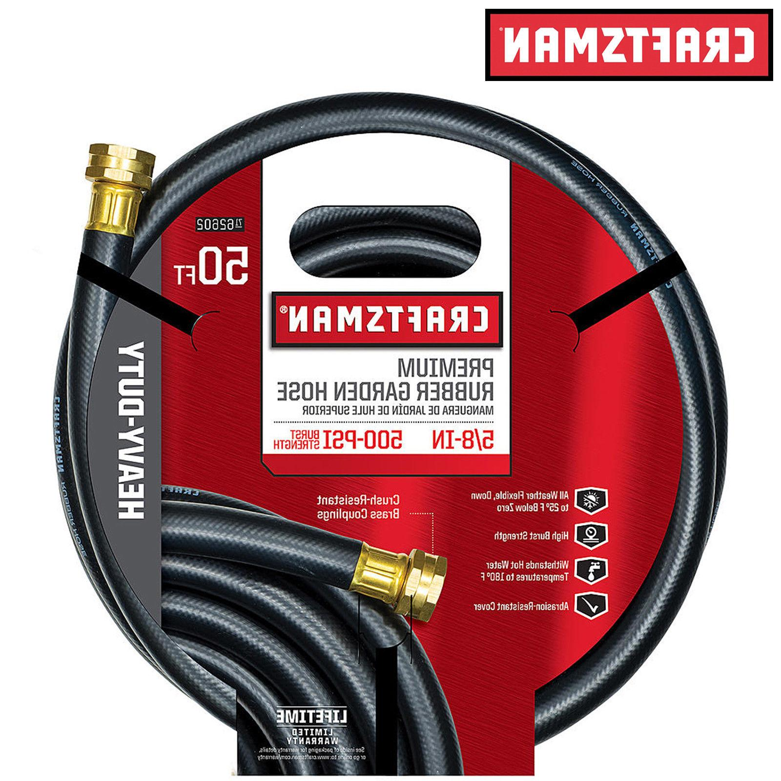 "NEW Craftsman 5/8"" x 50' Heavy Duty Rubber Garden Water Hose"