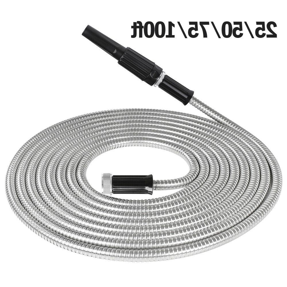 Stainless Steel Metal Garden Water Hose Pipe 25/50/75/100FT