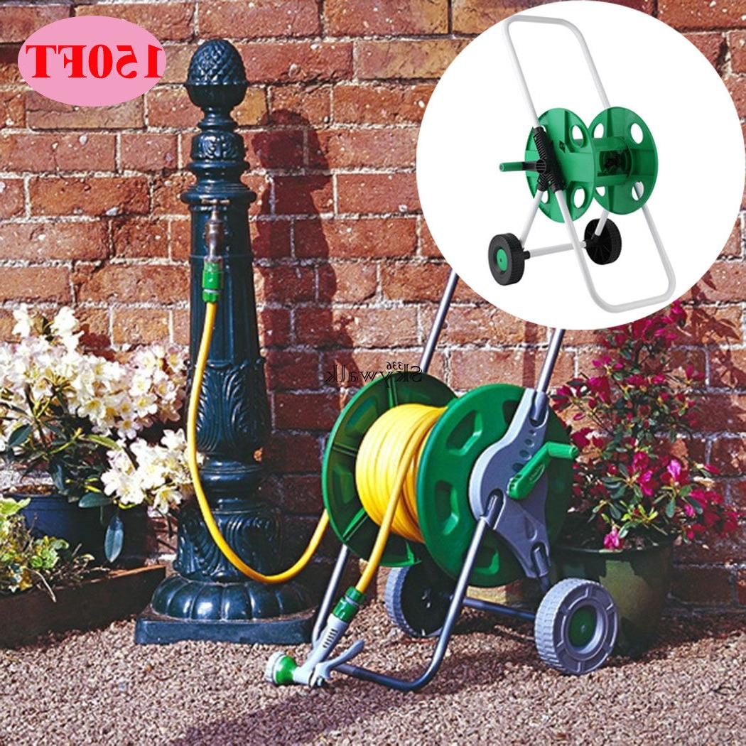 US 150FT MOVABLE HOSE REEL TROLEY GARDEN WATERING PIPE CART